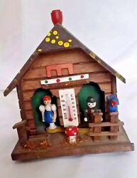 German Weather House Black Forest Thermometer Hand Painted Barometer Erzgebirge