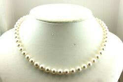 14k White Gold 19 Inch Round White Cultured Pearl 7.5-8mm Strand String Necklace