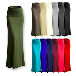 Womenand039s Rayon Span Stretch Flared Maxi Long Skirt Size S - 3x As1025