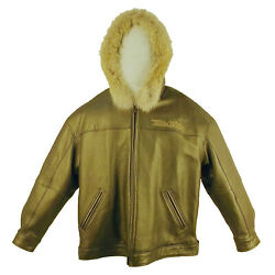 Pelle Pelle, Open Bottom Leather Jacket W Hoodie And Fur, 2040b, Limited Edition