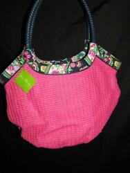 NWT Vera Bradley PINK Straw Bucket Tote Paisley Beach bag faux leather weekend