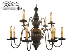 Charleston Wooden Chandelier By Katieand039s - Colonial Primitive Country - New