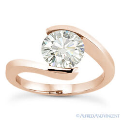 Forever One D-e-f Round Cut Moissanite 14k Rose Gold Solitaire Engagement Ring