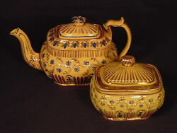 Rare 1800s Fancy Hand Decorated Teapot And Covered Sugar Bowl Set Yellow Ware