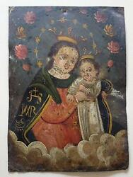 Our Lady Refuge Of Sinners-19th Century Mexican Retablo