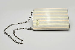 Sterling Silver And 18k Art Deco Ladies Dance / Coin Purse With Compact