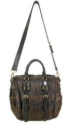 PRADA FANTASTIC CHOCOLATE BROWN LEATHER SHOULDER BAG ITALY EXCELLENT