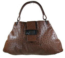 Large Brown Unisex Full Quill Ostrich Bag Italy Excellent