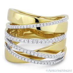 0.61ct Round Cut Diamond Right-hand Overlap Wrap Ring In 14k Yellow And White Gold