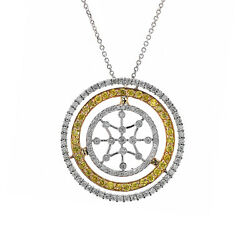 2.00 Carat Fancy Yellow And White Round Diamond Triple Circle Pendant On Cable Cha