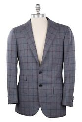 Cesare Attolini Wool And Cashmere 38us/48eu Sport Coat Blue And Red Check On Gray