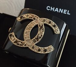 New And Authentic Black 'cc' Wide Bangle Bracelet Sold Out