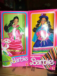 Lot Of 2 Peruvian And Korean Barbie Dolls Of The World 1st Ed