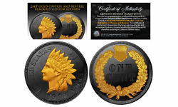Black Ruthenium Indian Head Cent Penny Coin 24k Gold Highlights 2-sided With Coa