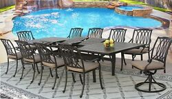 OUTDOOR PATIO 11 PC DINING SET 44 X 130 RECTEXTEND TABLE SERIES 4000