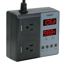 bayite BTC201 Pre-Wired Digital Temperature Controller Outlet Thermostat 2 St...