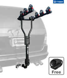 Tyger Black 3-bike Carrier Rack For Both 1-1/4'' And 2'' Hitch Receiver-w/lock