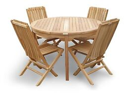 Genuine Grade A Teak, 47 Round Table W/4 Folding Chairs W Lumbar Support