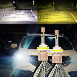 2x 80W 9600LM LED Headlight Bulb Dual Color White Yellow Fog Driving Lamps Kit
