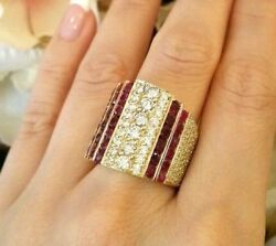 7.02 Ct Wide Band Diamond And Ruby Ring In Yellow Gold -- Hm1710b3