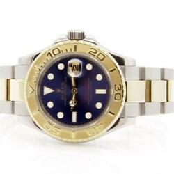 Rolex Mens Two Tone Stainless Steel & 18K Gold Yachtmaster 16623 Blue Dial 40mm