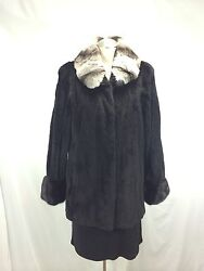Free Ship Super Warm Lavish Lady U S Black Pluck Mink Jacket + Chinchilla Collar