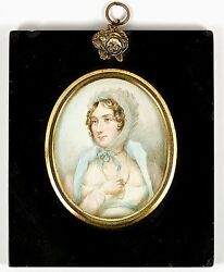 Antique Hp Georgian Portrait Miniature, Long Gold Chain - Jewelry And Costume