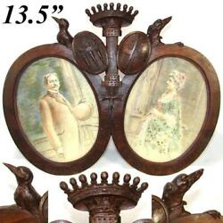 Antique Carved French Armorial Frame Crown Dog Crow And Crest Signed Portraits