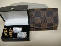 Louis Vuitton Damier Cuff Link Case Andmop Cuff Links And Ag 925 Hold Buckle Cuff