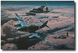 Night Hunters by Anthony Saunders - Me262 - Mosquito - 3 Signatures