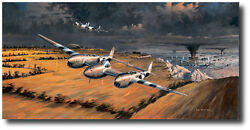 Front Row Seats By Ross Buckland - P-38 Lightning - Robin Olds - Aviation Art