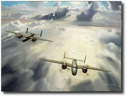 Welcome Little Brother By Nixon Galloway - B-25's And P-51 - Aviation Art Print