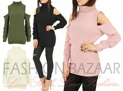 Womens Cold Shoulder Cutout Polo Neck Jumper Knitted Sweater Xmas Party Top Gift