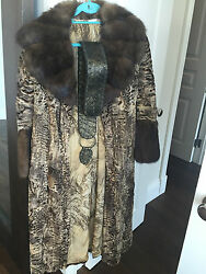Vito Punto Fur House, Russian Sable With Swakara Fur Coat, Size It40, Us Size 2