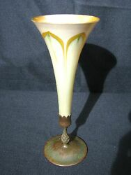 Louis Favrile Glass Pulled Feather Vase With Bronze Base Signed 14.25