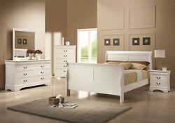 Louis Philippe 204 White Finish QueenFullTwin Sleigh Style Bed 4Pc Bedroom Set