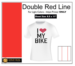 Double Red Line Light Color Inkjet Iron On Heat Transfer Paper 8.5x11 150 Sheets