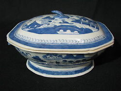 Mid-19th Century Chinese Canton Blue And White Porcelain Tureen W/ Boar Heads