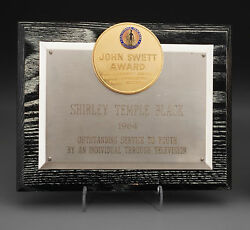 Shirley Temple John Swett Award Plaque 1964 From Her Personal Collection