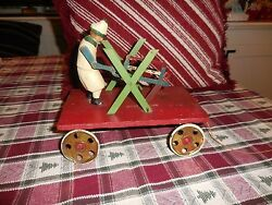 Vintage Early 1920's German Made Pull Toy Working Condition 8 1/8 Long