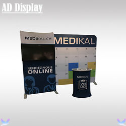 10ft10ft Trade Show Booth Advertising Fabric Wall With Tv Stand And Oval Table