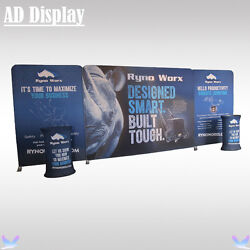 20ft Exhibition Tension Fabric Banner Advertising Display Wall With Oval Podium
