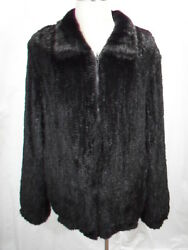 Free Shipg Black Real U.s. Mink Fur Knitted Men Bomber Jacket Big And Tall Size