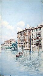 Venice View On A Canal And Palaces Watercolor By Martin O. Rico