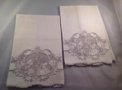 Hand Embroidered Sfilato Stitch Hand Towels Linen Lovers Courtship Vintage