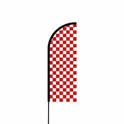 Outdoor Advertising Flex Banner Swooper / Feather Flag Kit - Chequered_wr Flag