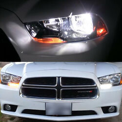 4x 2011-2014 Charger White LED Low Beam Headlight + Switchback Signal Light Bulb