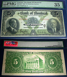 1923 Bank Of Montreal 5 Large Canadian Chartered Banknote,pmg 35 ,3 Rd Highest