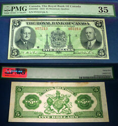 Only 7 Notes Graded Higher 1943 Royal Bank 5. Canadian Chartered Note,pmg 35