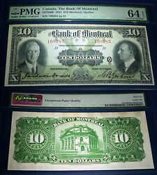 1931 Bank Of Montreal 10 Large Canadian Chartered Banknote,pmg 64 ,uncirculated